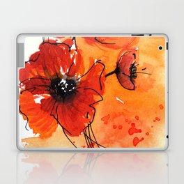 Red Poppy Flowers Watercolor Painting Laptop & iPad Skin