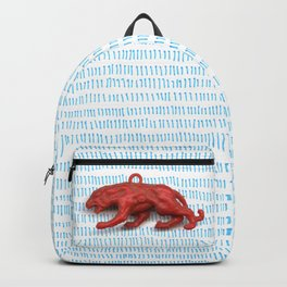 Red panther on blue grass Backpack
