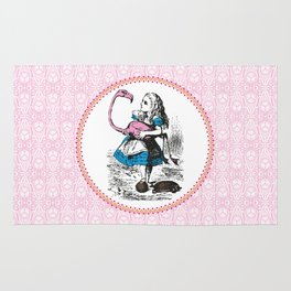 Alice in Wonderland | Alice playing Croquet with a Flamingo and Hedgehogs Rug