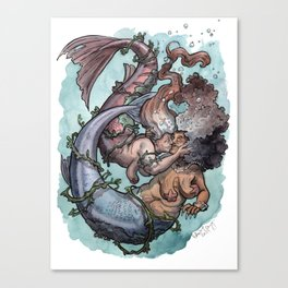 Old lady mermaids smooching Canvas Print