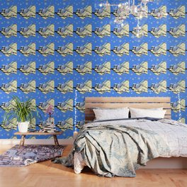 BLUE JAY DESIGN IN YELLOW-BLUE SNOWFLAKES ART Wallpaper