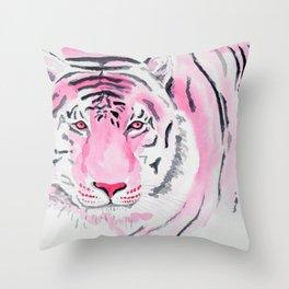 Fuchsia Watercolour Tiger Throw Pillow