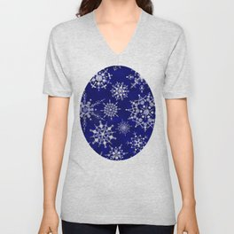 Snowflakes Floating through the Sky Unisex V-Neck