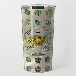 Golden Tortoise / Turtle Feng Shui Abalone Shell Travel Mug