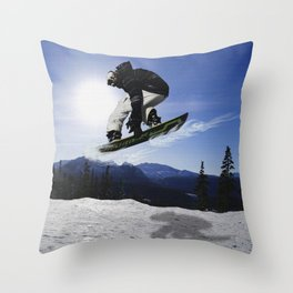 Born To Fly Snowboarder & Mountains Throw Pillow