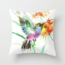 Hummignbird and Flowers Throw Pillow