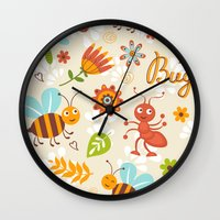 bugs Wall Clocks featuring Bugs by olillia