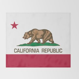 California Republic Flag - Bear Flag Throw Blanket