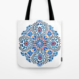 Blue-red mandala Tote Bag