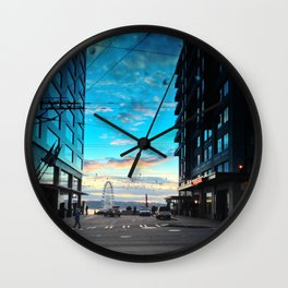 Seattle Summer Sunset Wall Clock