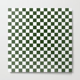 Large Dark Forest Green and White Check Squares Metal Print
