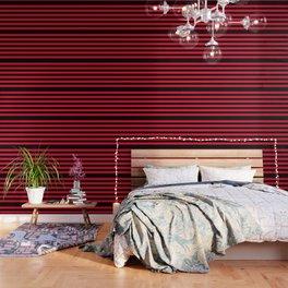 Black and Apple Red Medium Stripes Wallpaper