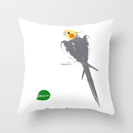 HAPPY COCKATIEL BIRD NORMAL  Throw Pillow