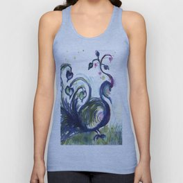 Pink Hearted Peacock watercolor by CheyAnne Sexton Unisex Tank Top