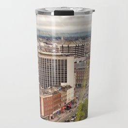 Dublin city center aerial view Travel Mug