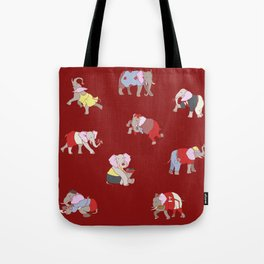 Elephants in College Tote Bag