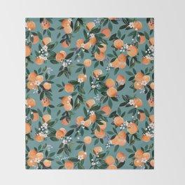 Dear Clementine - oranges teal by Crystal Walen Throw Blanket