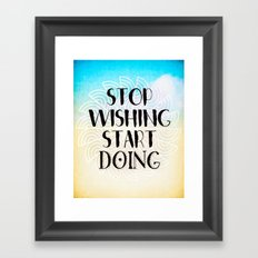 Stop Wishing Start Doing - Boho Gypsy Mandala Framed Art Print