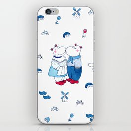 Adorable Dutch hippos in Delft blue style iPhone Skin
