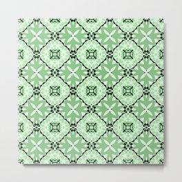 Windmill Flower Garden Green Metal Print