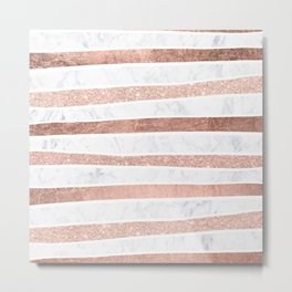 Modern faux rose gold glitter foil marble stripes pattern Metal Print