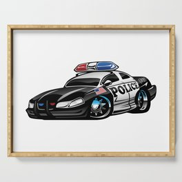 Police Muscle Car Cartoon Illustration Serving Tray