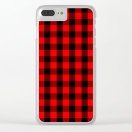Classic Red and Black Buffalo Check Plaid Tartan Clear iPhone Case