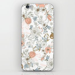 Abstract modern coral white pastel rustic floral iPhone Skin