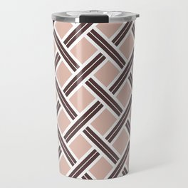 Modern Open Weave Pattern in Neutrals and Plums Travel Mug