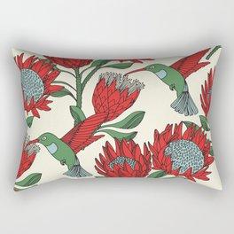 Protea with Hummingbird / Sunbird (Cream) Rectangular Pillow