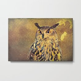 European Eagle Owl Watercolor Art Metal Print