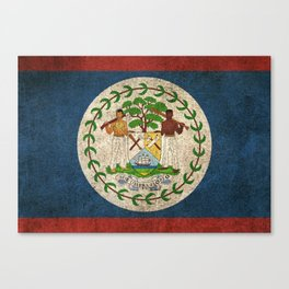 Old and Worn Distressed Vintage Flag of Belize Canvas Print