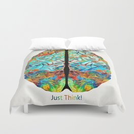 Colorful Brain Art - Just Think - By Sharon Cummings Duvet Cover