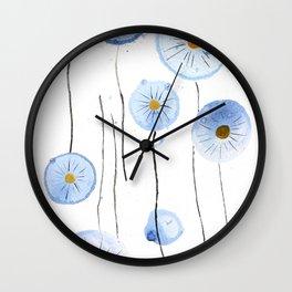 blue abstract dandelion 2 Wall Clock