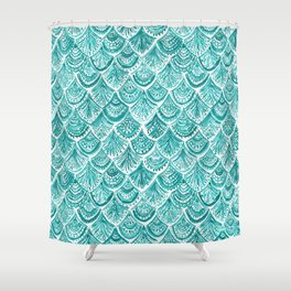AQUA LIKE A MERMAID Fish Scales Shower Curtain