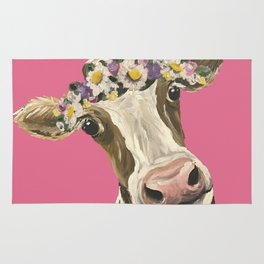Cute Cow Art, Colorful Flower Crown Cow Art Rug