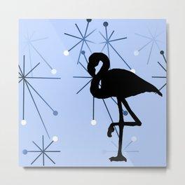MidCentury Modern Atomic Starburts Flamingo Blue Metal Print