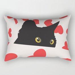Black Cat Hiding in Hearts Rectangular Pillow