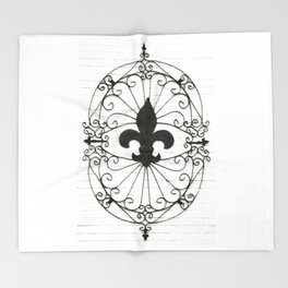 Wrought Iron Fleur de Lis Throw Blanket