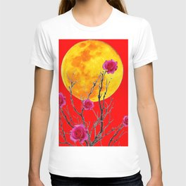 RED SURREAL FULL MOON & PINK WINTER ROSES T-shirt