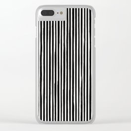 Skinny Stroke Vertical Off White on Black Clear iPhone Case