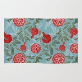 Pomegranate garden on sky blue Rug