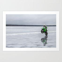 Ice Wheelie Record Art Print