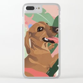 Dachshund puppy with palm leaves in bold colors Clear iPhone Case