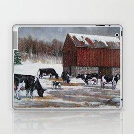 Holstein Dairy Cows in Snowy Barnyard; Winter Farm Scene No. 2 Laptop & iPad Skin