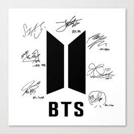 bts signatures black Canvas Print