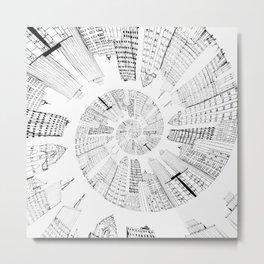 black and white city spiral digital painting Metal Print