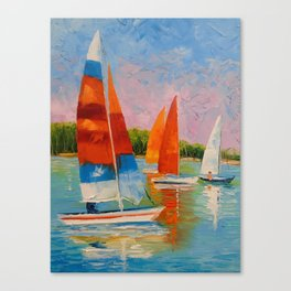 Sailboats on the river Canvas Print