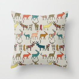 patterned deer stone Throw Pillow