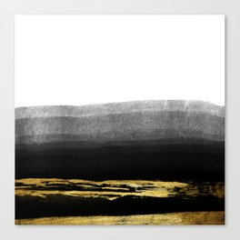Black & Gold Stripes on White - Mix & Match with Simplicty of life Canvas Print